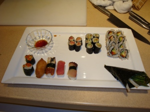 Sushi is Not Easy  We made all this in our Sushi Factory sweatshop .....