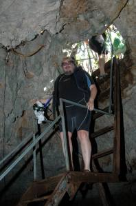 Stairs  Going down in to the Cenote in Mexico.  I only went down once and came back up once, but so far it is the only picture of me going up or down stairs :-)