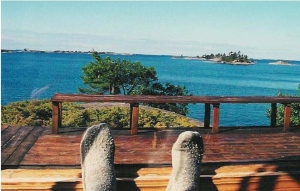 My Feet are up  and looking for a new way to get moving with out all of the garbage that usually stops them.  (But if they're gonna be up, they might as well be looking at this great view out the window of my cottage in Georgian Bay.) :-D