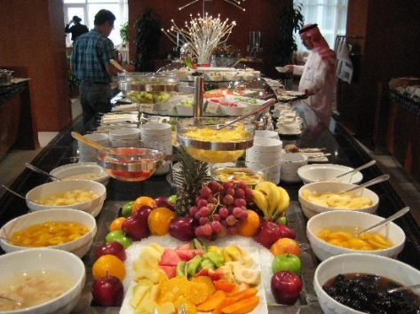 I took this picture from blog HillBuzz  and it is a great example of a breakfast buffet  Just one of the 5 or 6 tables