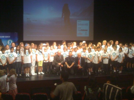 Adrian with his ambassadors and sponsors launching his Greenland Quest.