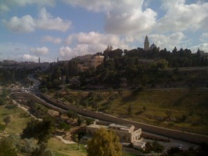 The view out our hotel window   Mout Zion on the right   The old city on the left