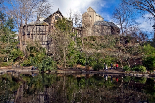 The Elizabethan Theatre as seen from the Duck Pond in Lithia Park